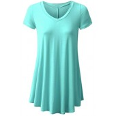 UGET Women's Short Sleeve Loose Fit Flare Hem T Shirt Casual V-Neck Tunic Top for Leggings Flowy Shirt