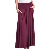 TRENDY UNITED Women's High Waist Fold Over Pocket Shirring Skirt