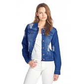 BLUE AGE Womens Denim Jean Jacket and Sleeveless Vest (M, JK4001B_MDWASH)