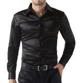 PAUL JONES Mens Slim Fit Silk Like Satin Luxury Dress Shirt
