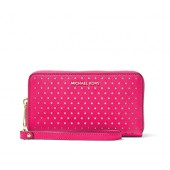 Michael Kors Jet Set Perforated Leather Smartphone Wristlet in Ultra Pink