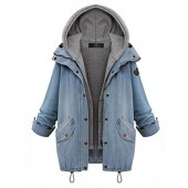 East Castle Women's Zip Up Blue Denim Coat Jacket with Hoodie Vest W-082