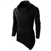 H2H Mens Fashion Turtleneck Slim Fit Pullover Sweater Oblique Line Bottom Edge