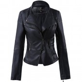 LingLuoFang LLF Women's Faux Leather Stand-up Collar Moto Biker Short Jacket,Cropped Jacket