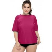 Sociala Women's Plus Size Rash Guard Short Sleeve Swim Shirt Rashguard Swimwear