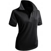CLOVERY Women's Casual PK Polo Shirts 3-Button Short Sleeve