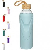 ORIGIN Best BPA-Free Glass Water Bottle With Protective Silicone Sleeve and Bamboo Lid - Dishwasher Safe