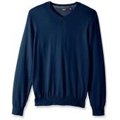 IZOD Men's Fine Gauge Solid V-Neck Sweater