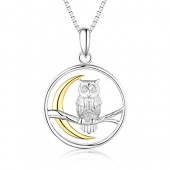 925 Sterling Silver Owl on the Branch Cresent Moon pendant necklace,18+2''rolo chain
