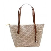 Michael Kors Jet Set Item Large East West Signature Top Zip PVC Tote
