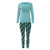 Women's Print Long Sleeve Fitted Pajama Set