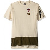 Southpole Big Boys' Short Sleeve Tee With Colorblock Bottom and Multi Patches