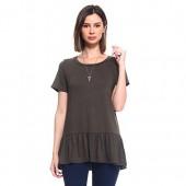 Isaac Liev Women's Casual Loose Short Sleeve Round Neck Ruffle Ruffled Hem Shirt T-Shirt Tee