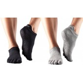 ToeSox Full Toe Low Rise Grip Yoga Pilates Socks 2 Pack
