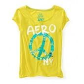 Aeropostale Womens Glitter Peace Sign Pajama Sleep T-Shirt