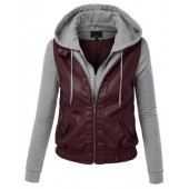 LE3NO Womens Faux Leather Zip Up Moto Biker Jacket With Hoodie