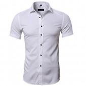 INFLATION Men's Bamboo Fiber Dress Shirts Slim Fit Short Sleeve Casual Button Down Shirts, Elastic Formal Shirts