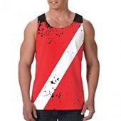 Antonia Bellamy Retro Scuba Diving Dive Flag Men's All-Over Print Tank Top Slim Fit Muscle Shirt