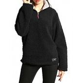 Sueetyus Womens Fleece Winter Outwear Zipper Collar Sherpa Warm Pullover Sweatshirt