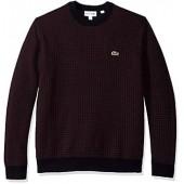 Lacoste Men's Long Sleeve Houndstooth Wool Blend Crewneck