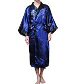 XueXian(TM) Mens Japanese Reversiable Kimono Bathrobe 3/4 Sleeve Long Nightwear 4 Colors