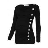 BlackCherry Women's Long Sleeve Cowl Neck Buttons Maternity Tunic Top T-Shirt