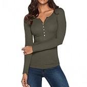 Chaofanjiancai Women Blouse Casual V Neck Henley Shirts Long Sleeve Solid Button Down Basic Tops Tees