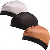Ababalaya Unisex Elastic Band Silky Stocking Wave Cap Pack of 3 or 6 Fit All Head Sizes