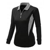 Xpril Women's casual Coolon Polo Collar Long sleeve T-shirt