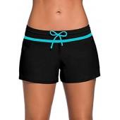 Actloe Women's Waistband Short Swim Bottom Side Split Plus Size Board Shorts