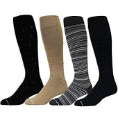 4 Pairs Men's Dr. Motion Athletic Traveler Graduated Compression Knee High Socks