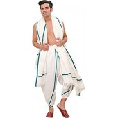 Exotic India Plain Ready to Wear Dhoti and Angavastram Set with Striped Border
