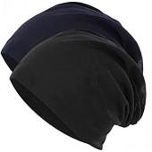 Novawo 2pcs Unisex Slouchy Beanie Hats Skull Cap Baggy Beanie for Men Women