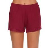 Ekouaer Womens Pajama Shorts Lace Trim Pocket PJS Cotton Sleepwear (S-XXL)