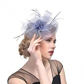 Bride Fascinator Headdress Show Hat Feather Flower Hairpin Banquet Women's or Girl's Hairwear