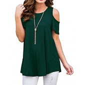 YIOIOIO Women's Cold Shoulder Tops Short Sleeve Casual Tunic Tops Loose Blouse Shirts