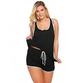 IN'VOLAND Plus Size Womens Sleepwear Lightweight Viscose Pajama Sets Tank Top and Shorts
