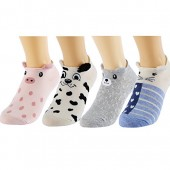 HSELL Cute Animal Low Cut Socks, No Show Socks Women, 4 Packs Cotton Liner Socks