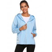 Unibelle Women's Thin Zip Up Hoodie Rainwear Jacket Coat With Pockets