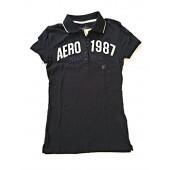 Aeropostale Polo 5 button shirt Womens Mens White letters AERO 1987 Blue Letters New York