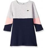 Lacoste Girls' Long Sleeve Color Block Fleece Dress