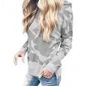 Chaofanjiancai Women Blouse Casual Long Sleeve Hooded Fashion Camouflage Print Sweatshirt Pullover Tops