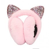 ManxiVoo Winter Warm Women Cartoon Warmuffs with Cat Ear Foldable Faux Fur Ear Warmers Windproof