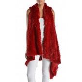Triple9shop Women's 100% Warm Faux Fur Long Vest Fluffy Cardigan