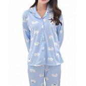 MyFav Big Girls Cute Moustache Printed Pajama Set Novel Cloud Winter Sleepwear
