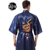 MORCOE Men's Chinese Dragon Embroidered Pajamas Smoking Jacket Yukata Kimono for Men Stain Long Robe with Pockets Gift