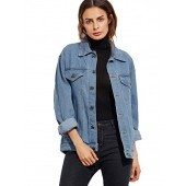SheIn Women's Classic Long Sleeve Boyfriend Denim Jacket