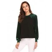 Zeagoo Women's 12 OZ. Crewneck Autumn Pullover Velvet Patchwork Sweatshirt Blouse Shirt