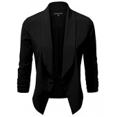JJ Perfection Women's Lightweight Thin Chiffon Ruched Sleeve Open-Front Blazer