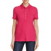 Tory Burch Women's Lacey Polo Shirt in Hibiscus Flower (Hot Pink) Size Large